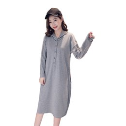 maternity cotton nursing Australia - Pengpious Autumn Outfit Pregnant Women Hooded Breastfeeding Dress Plus Size Long Sleeve Cotton Nursing Dress Maternity Lactation