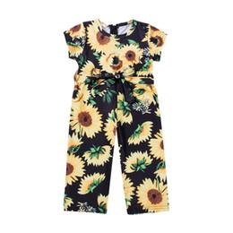 Discount princess toddler romper - 2019 Summer Toddler Kids Baby Girl Sunflower Romper Short Sleeve Belt Bow Princess Girls Jumpsuit Playsuit Sunsuit Cloth