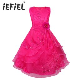 formal wedding gowns Australia - iEFiEL Kids Girls Embroidered Flower Bow Formal Party Ball Gown Prom Princess Bridesmaid Wedding Children Tutu Dress Size 4-14Y