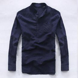 a26f48b04f Italia marca camisas de manga larga para hombres ropa de hombre puro camisa  de moda casual para hombre camisas de lino de negocios camisa suelta camisa  ...
