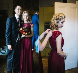 Pictures Black Coral Beads Australia - Burgundy Country Bridesmaid Dresses 2019 Jewel Floor Length Lace Sash Beads Garden Wedding Guest Gowns Maid Of Honor Dress Plus Size Cheap