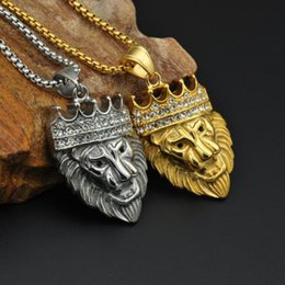 Necklaces Pendants Australia - Hip Hop Gold Plated Black Eyes Lion Head Pendant Men Necklace King Crown Iced Out Fashion Jewelry For Gift New Arrivals
