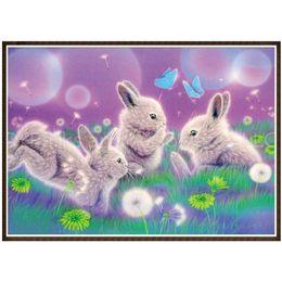 $enCountryForm.capitalKeyWord Australia - Diy Round Diamond Painting Cute Rabbits 5d Rhinestone Diamond Embroidery Wall Stickers Diamond Animals Pattern Home Decoration