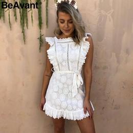 $enCountryForm.capitalKeyWord NZ - Beavant Vintages Brush Pinafore White Women's Dress Elegant Lace High Waist In Summer Dress Embroidery Cotton Short Dress Party Y19070901