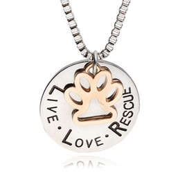 Tin Box Printed Australia - 2019 Cute Live Love Rescue Lettering Necklace Animal Cat Dog Paw Print Personalized Pendant box chain For women & men Fashion Jewelry