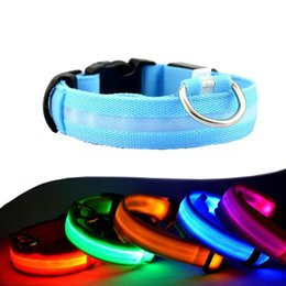 Wholesale Night Safety LED Dogs Collar Nylon Lights Flashing Glow In Dark Electric Pet Coolars Colors Pet Supplies Dog Cat Leash