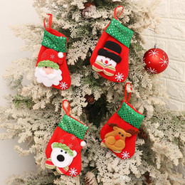 hang bear bag 2020 - Mini Christmas Hanging Socks Cute Candy Gift Bag Snowman Santa Claus Deer Bear Christmas Stocking For Christmas Tree Dec