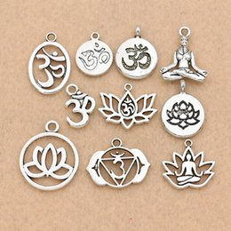 $enCountryForm.capitalKeyWord NZ - Charms Mixed Tibetan Silver Plated Yoga OM Charm Pendants Jewelry Accessories Bracelet Jewelry Findings DIY 10pcs lot