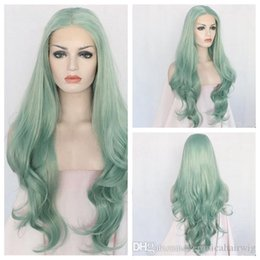 Long Hair Wave Style Australia - Hot Selling New Cosplay 24inch Green Color Natural Long Body Wave Style Heat Resistant Hair Glueless Synthetic Lace Front Wig For Women