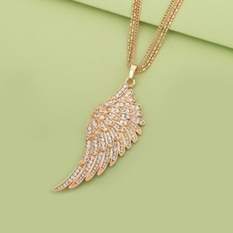$enCountryForm.capitalKeyWord Australia - Angel Wings Pendant Necklace For Women 2019 Fashion Women Jewelry Rose Gold Color Long Layered Chain Necklaces & Pendants Gift