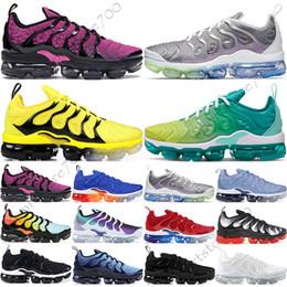 Venta al por mayor de Nike Air Vapormax Plus TN Geométrico Activo Fucsia Negro Hombres Mujeres Zapatillas de Rejilla Imprimir Lemon Lime Bumblebee Juego Royal Entrenadores Zapatillas Deportivas 36-45