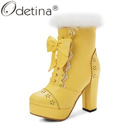 white lolita shoes 2019 - Odetina Womens Fur Platform Zip Up Block High Heel Ankle Boots Sweet Round Toe Bowknot Cosplay Lolita Shoes Plus Size 48