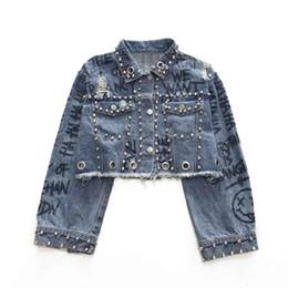Studded jacketS online shopping - Handmade Studded Rivet Denim Jacket Autumn Women Coats Blue Printed Lapel Single Breasted Women s Jackets and Coats