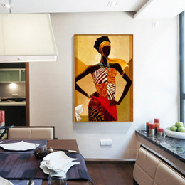 $enCountryForm.capitalKeyWord Australia - large size Handmade famous african woman picture On Canvas brown africa portrait oil painting wall art artwork home decoration