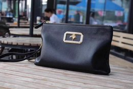 $enCountryForm.capitalKeyWord Australia - Real leather mens simple Briefcases purse Pouch metal hardware Eagle design high-end men Clutch bag
