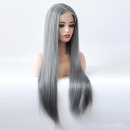 $enCountryForm.capitalKeyWord Australia - Hot Selling Sexy Long Gray Straight Synthetic Lace Front Wig Dark Grey Soft Natural Hairline Heat Resistant Glueless Synthetic Hair Wigs