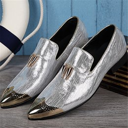 $enCountryForm.capitalKeyWord Australia - genuine leather personalize factory outlet lazy men Derby genuine leather shoes Embossing Shining stage catwalk dress shoes
