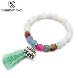 Discount white elephant gifts - Elastic 8MM Litchi Grain Nature Stone Beads Bracelet for Women Men Bohemian Lucky Elephant Tassel Pendant Charm Bracelet