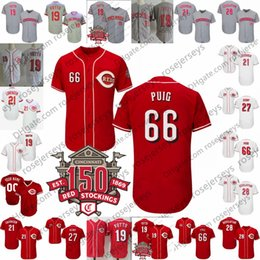 2019 Cincinnati 150 Jerseys de basebol 27 Matt Kemp 66 Yasiel Puig 19 Joey  Votto 3 Scooter Gennett 7 Eugenio Suarez 21 Michael Lorenzen 214ab02e4