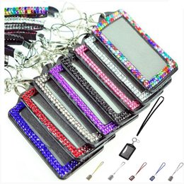 Lanyard badge verticaL online shopping - Rhinestone Bling Lanyard with Vertical PU ID Badge Card Holder and Key Chain Fashion Phone Strap