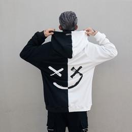 Red devil hoodie online shopping - DJ Marshmello Graffiti Devil Black and White Stitching Sweatshirts Men Women hip hop Bboy Loose Couple Hoodie Jacket Tide