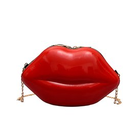 $enCountryForm.capitalKeyWord UK - Women Lip-Shaped Chain Versatile Messenger Crossbody Bag Fashion Cute Kids Shoulder Bag Fashion Bolsas Feminina