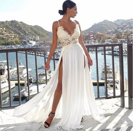 Chinese  2019 chiffon Wedding Dresses With sheer lace Bohemian sexy split A-Line Bridal Gowns Country boho Wedding Dresses custom made abiti da sposa manufacturers