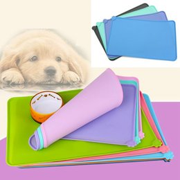 Cat Food Storage Australia - 6 Colors Silicone Pet Puppy Feeding Mat Cat Pad Cute Bed Dish Bowl Food Water Feed Placemat AAA258 p