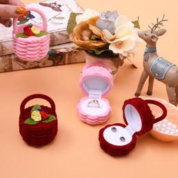 Wholesale Boxes Packaging Australia - 1pcs Cartoon Ring Box Flower Basket Cartoon Type Flocking Cases Earrings Ring Storage Boxes earrings Packaging Display