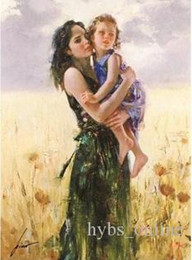 $enCountryForm.capitalKeyWord Australia - Pino Mother and Daughter Close to My Heart High Quality Hand-painted  HD Print Portrait Wall Art Oil Painting On Canvas Multi sizes P015!