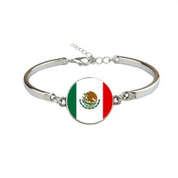 $enCountryForm.capitalKeyWord UK - Women Men Mexico National Flag World Cup Football Fan Time Gem Glass Cabochon Jewelry Silver Link Chain Fashion Bracelet Wholesale 2019 Gift