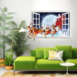 Landscapes For Wall Stickers Australia - Christmas elk wall sticker decals removable Christmas wall Sticker mural Santa Claus sticker for Christmas Day home decor window stickers