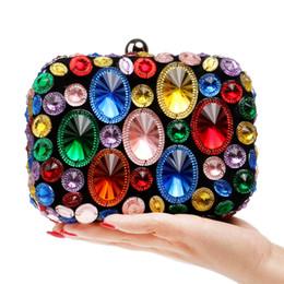 $enCountryForm.capitalKeyWord NZ - Luxury Sparkling Hot-Fixed Rhinestones Women Colorful Evening Bags Wedding Prom Dinner Crystal Clutch Handbags and Purses Diamond Hard Box