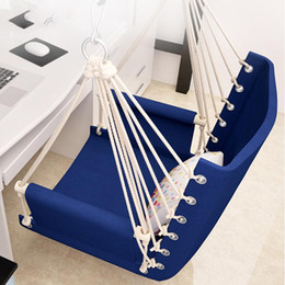 outdoor patio swings UK - Canvas Swing Hanging Hammock Cotton Rope Tassel Tree Chair Seat Patio Outdoor Indoor Garden Bedroom Safety Hanging Chair