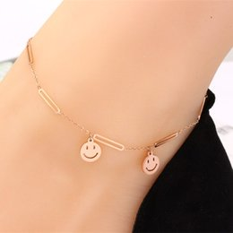 14k gold anklets Australia - New rose gold geometric triangle titanium steel anklet fashion smiley five-pointed star pendant female models not faded anklet