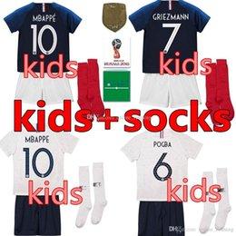French shorts online shopping - Maillot de Foot enfant cheap football kids stars two etoiles Equipe de france uniform french kits Jerseys pant socks