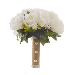cloth flowers bouquet NZ - Holding Flower Rose Bridal bouquet Spring Artificial Flowers Imitation Pearls hand bouquet wedding bridal bouquet Silk cloth Customized Gift