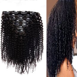 hair extensions 4b Canada - 4B 4C Mongolian Afro Kinky Curly Clip in Human Hair Extensions Natural Black Full Head mongolian Remy Hair Clip ins 100g 8pcs Free Shipping