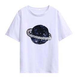 Sequined Shirts UK - JKKUCOCO 2019 Tops hot tees Sequined earth Cotton t shirt Women t-shirts Short Sleeve Summer T-shirt black white M L XL