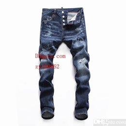 Chinese  Men's jeans Bottoms Tooling denim 2019 new products Slim fit Individuality hole comfortable design White spotc manufacturers