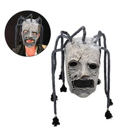 Discount slipknot face masks Halloween Mask For Slipknot Mask Movie Cosplay Horror Scary Clown With Braid Hair Wig Halloween Latex Party Costume