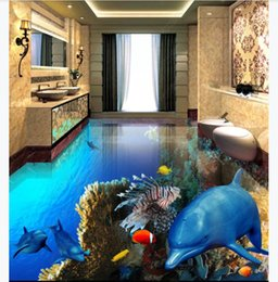$enCountryForm.capitalKeyWord NZ - Customized 3D Self-adhesive floor photo mural wallpaper Tropical fish dolphin underwater world 3D stereo bathroom waterproof floor painting