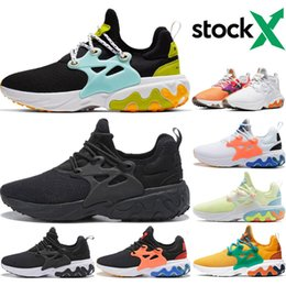 Discount running shoes prestos React Mens Women Running Shoes Beach Day Black Blue Breakfast DHARMA Triple Black BR QS Prestos mens Outdoor Sneakers 5.