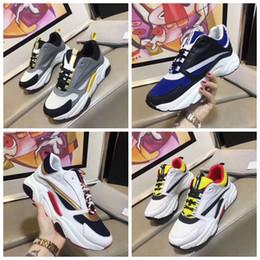 Venta al por mayor de B22 Sneaker Calfskin Trainers Hombres Low Top Casual Shoes Mujer Zapatillas de lona planas Retro Patchwork Lujo Casual Sneaker Algodón Cordones