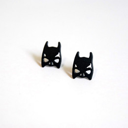 Earring Heroes Australia - Super Hero The Avengers Earrings Marvel Alloy Black Batman Mask Stud Earrings