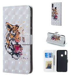 Roses Butterflies Australia - For Huawei Y7 2019 Beautiful 3D Three Dimensional Rose Flower Butterfly Tiger Design Case Cover with Wallet Card Slot Photo Frame(Y7 2019)