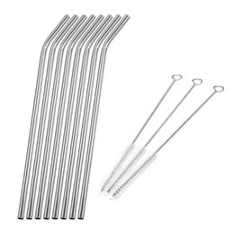 Dedicated Stainless Steel Straws Home & Garden Set Of 10 Extra Long 27cm Reusable Metal Straws With