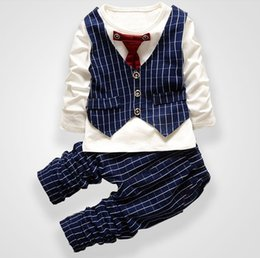 $enCountryForm.capitalKeyWord NZ - Fashion Party Wedding Baby Boys Girls Children's Tie Dress Stripe Tops + Plaid Pants Christmas Clothing Sets 0-3 Sport Suit J190715
