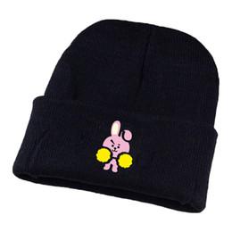 Cute Beanies UK - 2018 ARMY Fans Fashion Gifts Kpop Bangtan Boys BT21 Beanie Hip Hop Hat Unisex Cute Cartoon Printed Knitted Wool Casual Cap