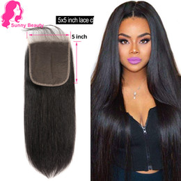 "5x5 middle part lace closure NZ - Brazilian Lace top closure,8-20"" Human Hair piece ,Brizilian Lace Closure Straight 5x5 With Baby Hair Can be Dyed Bleach Knots Freeparting"